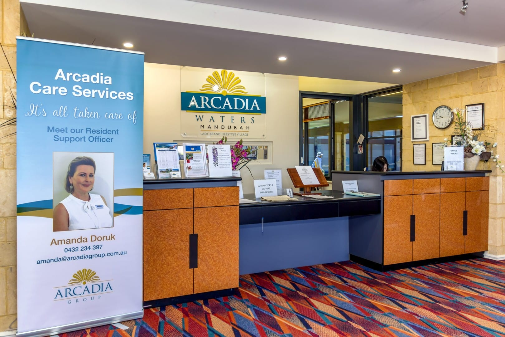 Reception area of mandurah retirement village