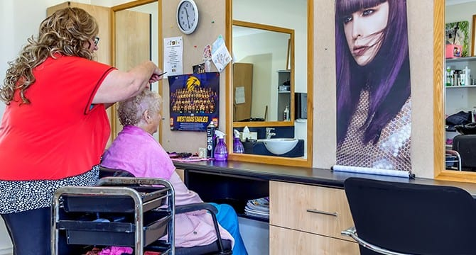 Female seniors at Salon in mandurah retirement village